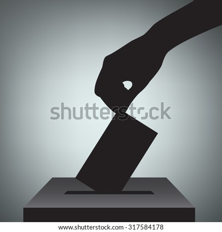 Hand with voting ballot and box. Vector Illustration