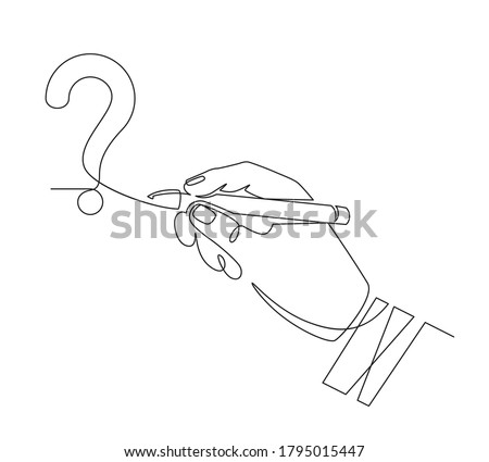 Hand writes question mark. Sketch one line hand draw question mark, quiz and survey symbol, continuous linear graphic vector concept. Question mark typography, drawing monochrome line illustration
