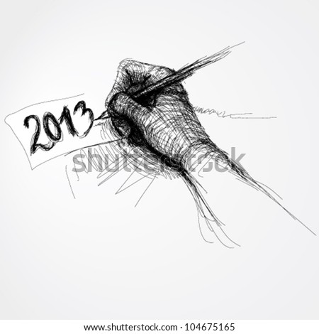 Hand writes �2013� / Realistic sketch (not auto-traced)