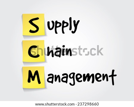 Hand writing acronym Supply Chain Management (SCM) on yellow sticky notes, business vector concept