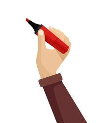 Hand writing. Vector flat illustration