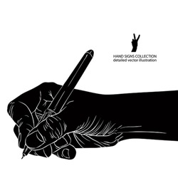 Hand writing with pen, detailed black and white vector illustration.