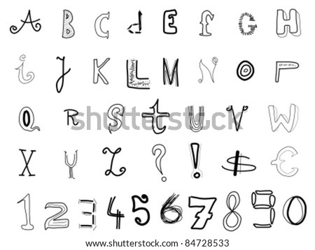 Hand written alphabet - various doodle letters isolated on white background. Handwriting font illustration.
