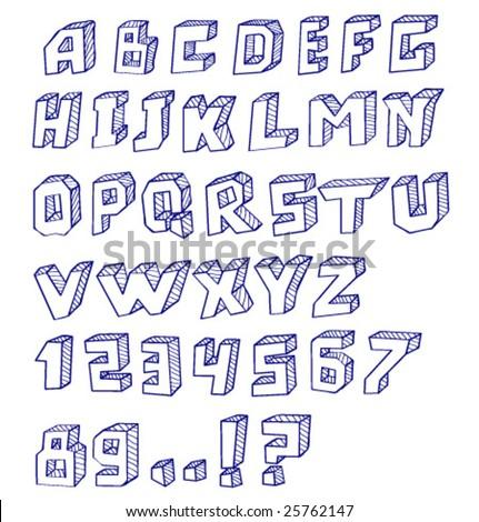 Hand written alphabet. Vector.