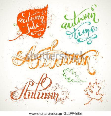 hand written autumn lettering