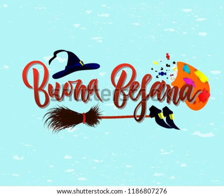 Hand Written Brush Lettering Phrase Buona Befana Meaning Happy Epiphany On Blue Background With Broom