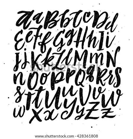 Hand written Brush Style Hand Drawn Calligraphy Alphabet. Vector handwritten script. Black letters isolated on white background for your design ( web sites, print, fashion).
