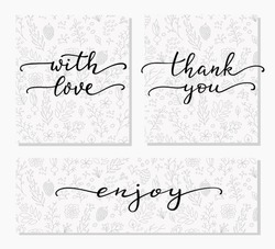 Hand written calligraphy style messages set. Lettering thank you, with love, enjoy. Typography label graphic design lettering element. Hand written calligraphy style signs. Package decoration element.