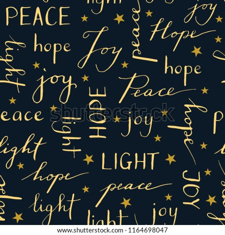 Hand Written Christmas Typography vector seamless pattern Winter Holiday Calligraphy Words Peace Joy Hope Light
