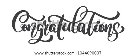 Hand written Congratulations calligraphy text, vector Lettering. Calligraphic banner