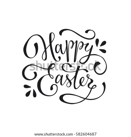 Hand written easter phrase greeting card text template isolated on hand written easter phrase greeting card text template isolated on white background happy easter m4hsunfo