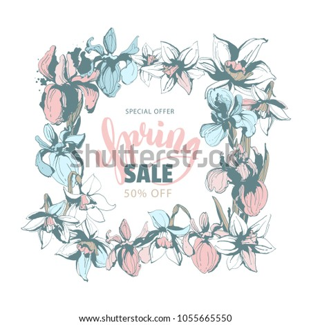 Hand Written Lettering Calligraphy Inscription Spring Sale Discount With Drawn Floral Background Flowers Frame Border