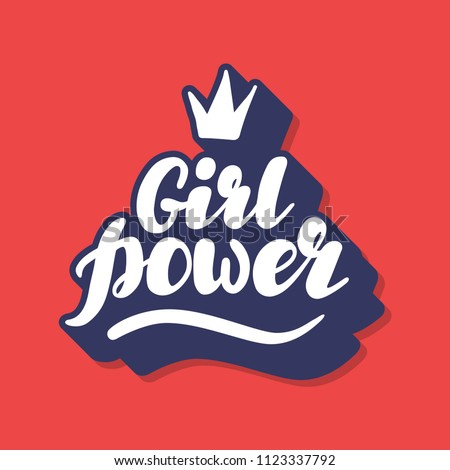 Hand written lettering Girl Power made in vector. Hand drawn card, poster, postcard, t-shirt apparel design. Ink illustration. Modern calligraphy. Retro, old fashioned typography.