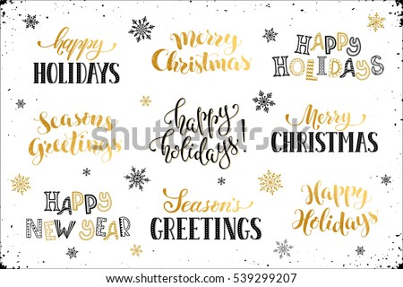 Seasons greetings vector download free vector art stock graphics hand written new year phrases greeting card text with snowflakes isolated on white background seasons greetings m4hsunfo
