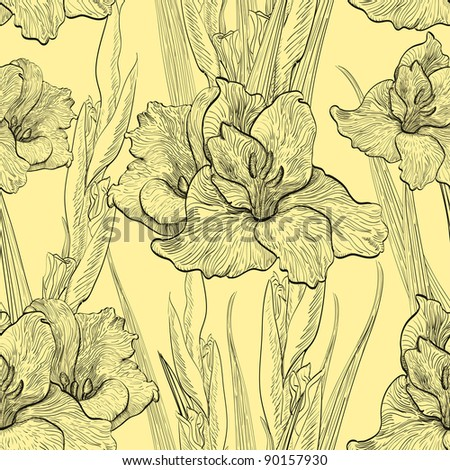 Hand-written seamless pattern with gladiolus flowers - stock vector