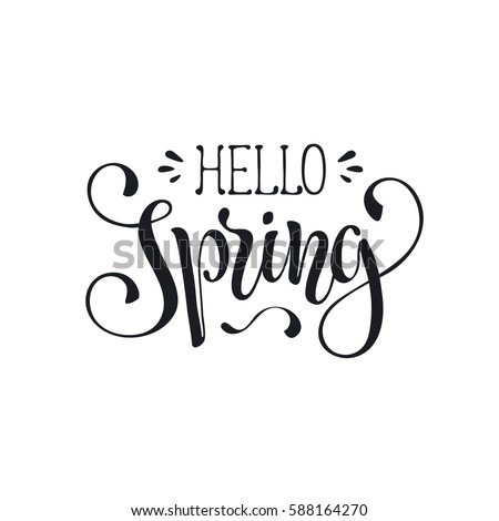 Hand written spring time phrase greeting card text template hand written spring time phrase greeting card text template isolated on white background hello m4hsunfo