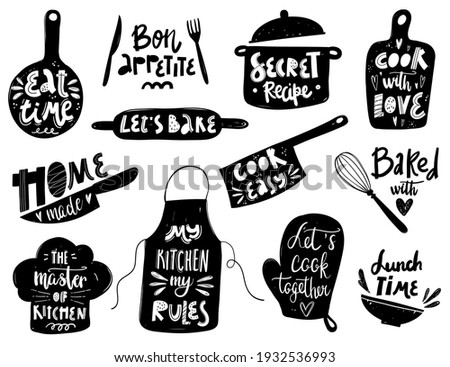 Hand written vector cooking lettering set on white background. Vector cooking lettering set with kitchenware silhouette. Design concept for cooking classes, courses, food studio, cafe, restaurant.