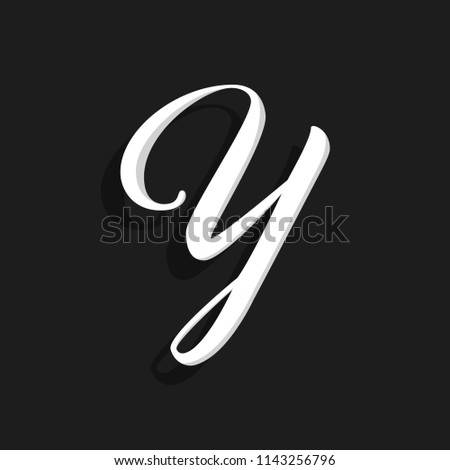 Hand Written Vector Logo Letter Y. Y Letter Design Vector