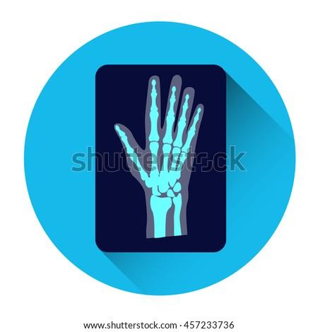 hand x ray medicine icon flat