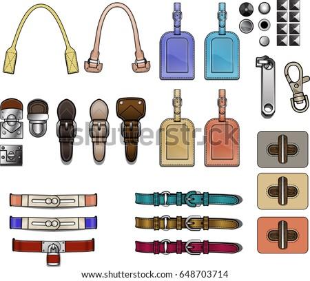 Handbag design elements accessories closures hardware illustration