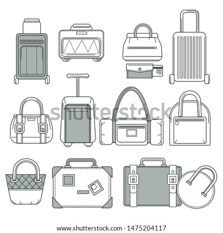 Handbag or suitcase, bag or valise, traveling baggage isolated objects vector. Accessory with handles and belt, purse and luggage. Fashion design, textile or fabric garment or clothing element