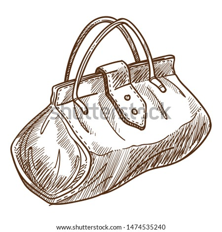 Handbag retro bag or valise isolated object sketch vector female accessory with handles and belt purse monochrome drawing vintage fashion design textile. or fabric garment or clothing element