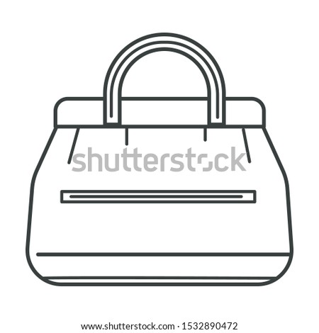 Handbag with handle, satchel, travel carry on luggage bag. Vintage valise, weekender, textile or leather accessory, zipper pocket. Black and white isolated vector illustration on white background.