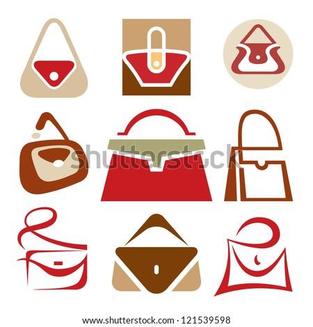 Handbags vector icons set. Handbags creative signs collection. Bag logo sign. Bags shop symbol. Vector logo template. Design elements.