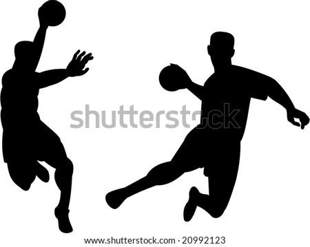 Handball player jumping with ball
