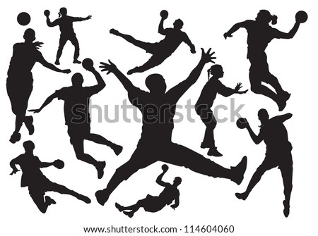 handball players silhouette