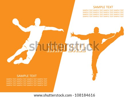 Handball players - vector illustration