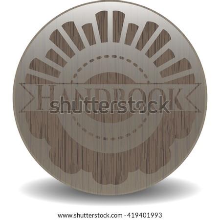 Handbook retro style wooden emblem