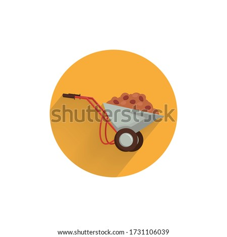 handcart colorful flat icon with long shadow. handcart with ground flat icon