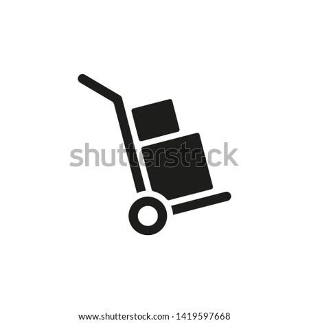 Handcart icon. A handcart with a box vector. Wheelbarrow for transportation of cargo. Isolated. Stock photo ©