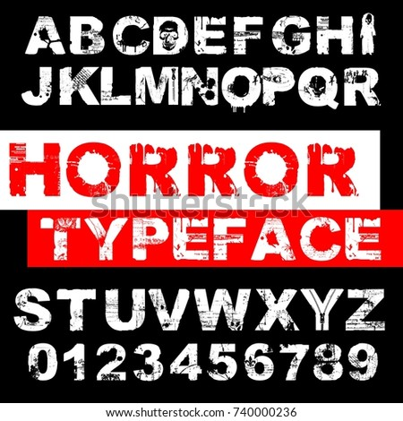 Handcrafted vector ABC alphabet script font and numbers named Horror Typeface. Halloween vector typeface. Special typeface for Halloween lettering, vintage, poster, card design