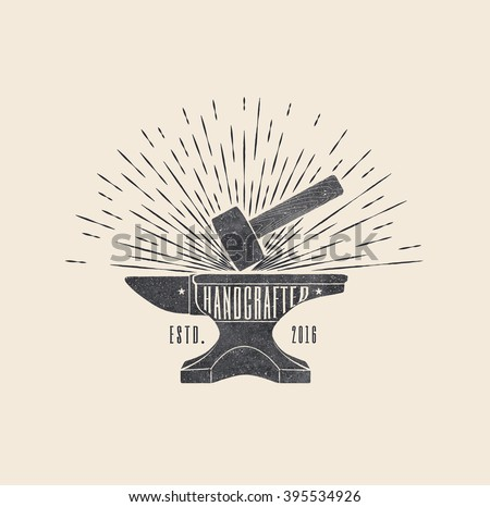 Handcrafted. Vintage styled vector illustration of the hammer and anvil