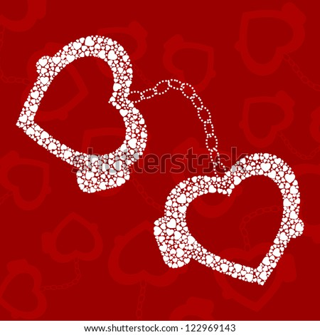 handcuffs and white hearts on red background.
