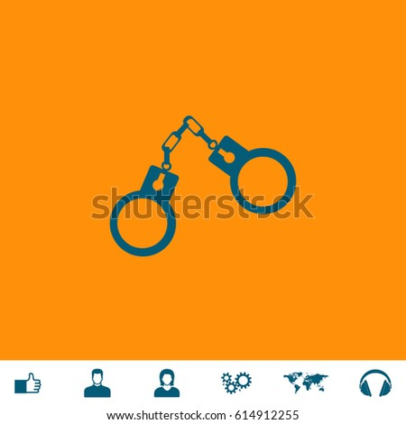 handcuffs blue symbol icon on