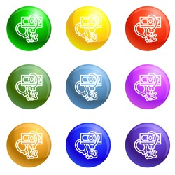 Handcuffs bribery icons vector 9 color set isolated on white background for any web design