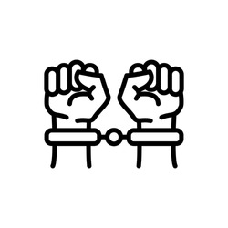 Handcuffs, manacles or shackles icon. Chained, handcuffed hands, line art design