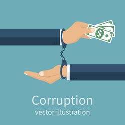 Handcuffs on hands during business corrupt deal. Anti corruption concept. Stop corruption icon. Vector illustration, flat design style. Bribery vector.
