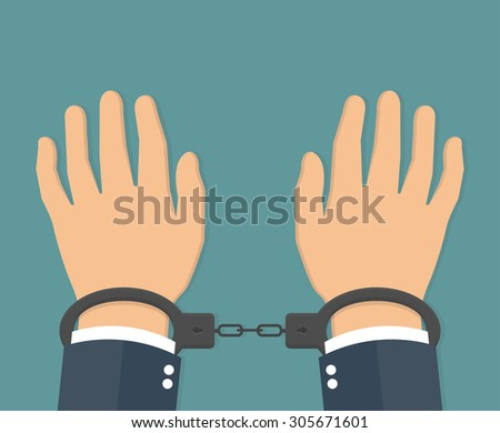 handcuffs on hands flat style