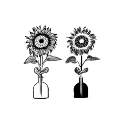 Handdrawn Abstract Style Single Sunflower and Vase Vector Design