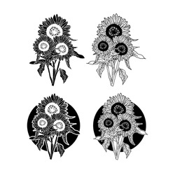 Handdrawn Abstract Style Sunflowers Set Vector Design