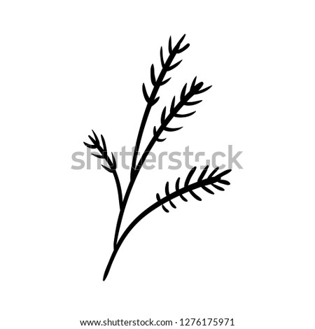 Handdrawn branch doodle icon. Hand drawn black sketch. Sign symbol. Decoration element. White background. Isolated. Flat design. Vector illustration.