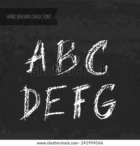 Handdrawn chalk font - vector file with separated letters A, B, C, D, E, F, G. Real chalk texture.