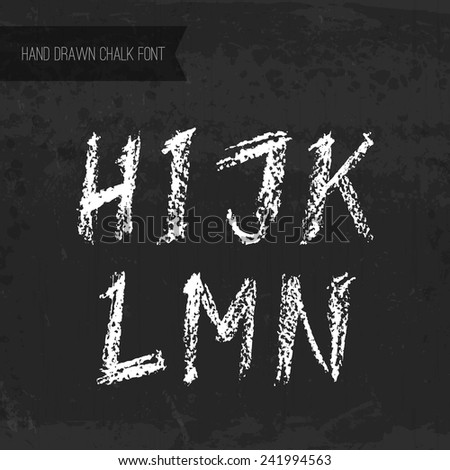 Handdrawn chalk font - vector file with separated letters H, I, J, K, L, M, N. Real chalk texture.
