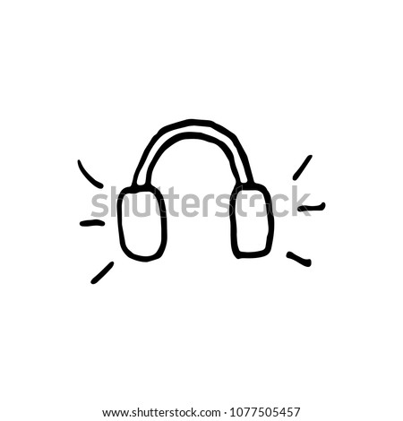 Handdrawn doodle headphones icon. Hand drawn black sketch. Sign symbol. Decoration element. White background. Isolated. Flat design. Vector illustration.