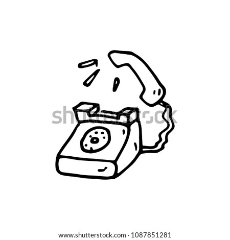 Hand Drawing Old Phone Vintage Stock Photo 492927022