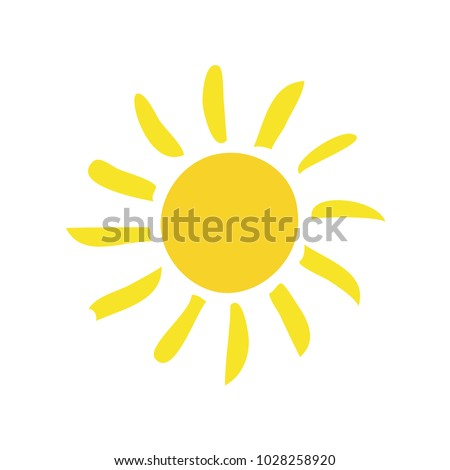 Handdrawn elegant vector flat sun summertime day light spring ecology single simple trandy morning solar website sunshine sunrise sunset silhouette. Summer flat pictogram. copyspace